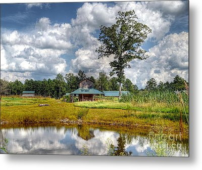 Metal Print featuring the photograph Reflection Of A Farm House by Kathy Baccari