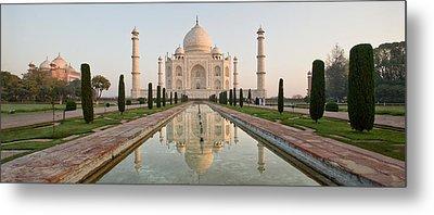 Reflection Of A Mausoleum In Water, Taj Metal Print