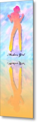 Reflection Of A Modern Girl In Abstract Oil Metal Print