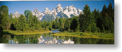 Reflection Of A Snowcapped Mountain Metal Print by Panoramic Images