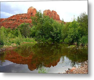 Reflection Of Cathedral Rock Metal Print by Carol Groenen