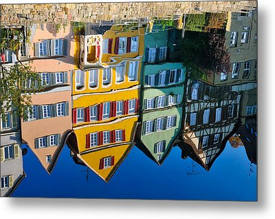 Reflection Of Colorful Houses In Neckar River Tuebingen Germany Metal Print by Matthias Hauser