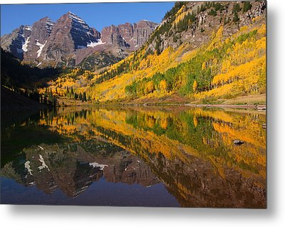 Reflection Of Maroon Bells During Autumn Metal Print