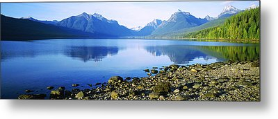 Reflection Of Rocks In A Lake, Mcdonald Metal Print