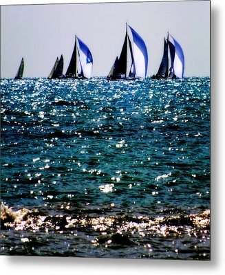 Reflection Of Sails Metal Print by Karen Wiles