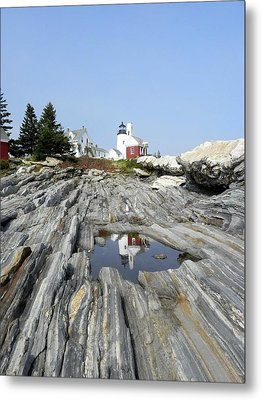 Reflection Of The Lighthouse Metal Print