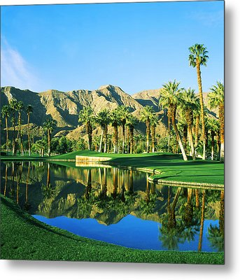Reflection Of Trees On Water In A Golf Metal Print by Panoramic Images