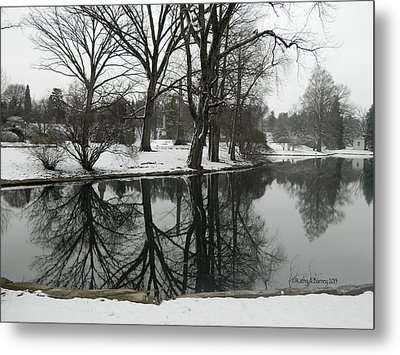 Metal Print featuring the photograph Reflection Pond Spring Grove Cemetery by Kathy Barney