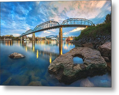 Reflection Rock At Low Water Metal Print
