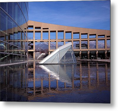 Reflections At The Library Metal Print by Rona Black