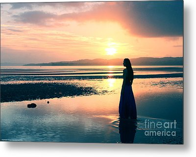 Reflections By The Sea Metal Print by Gee Lyon