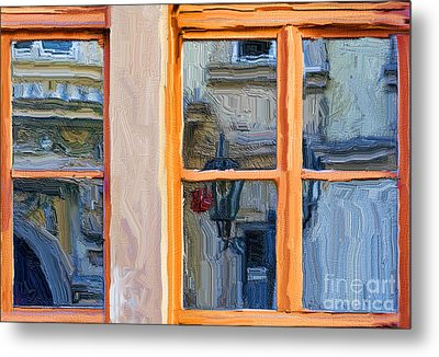 Reflections In A Window Prague Metal Print by Ted Guhl