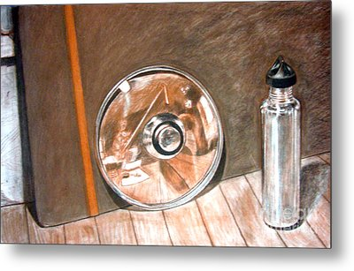 Reflections In Glass And Steel A Still Life Metal Print