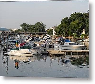 Reflections In The Small Boat Harbor Metal Print by Kay Novy
