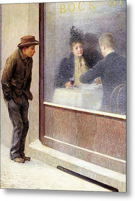 Reflections Of A Hungry Man Or Social Contrasts Metal Print by Emilio Longoni
