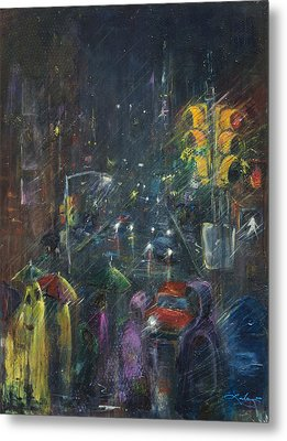 Reflections Of A Rainy Night Metal Print by Leela Payne