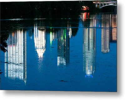 Reflections Of Austin Skyline In Lady Bird Lake At Night Metal Print by Jeff Kauffman