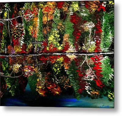 Reflections Of Fall Metal Print by Mark Moore