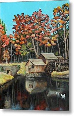 Reflections Of Mabry Mill Metal Print by Eve  Wheeler