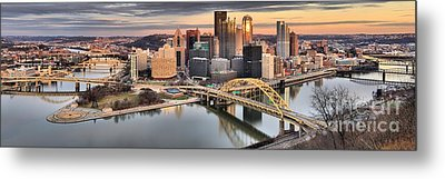 Reflections Of Pittsburgh Pennsylvania Metal Print