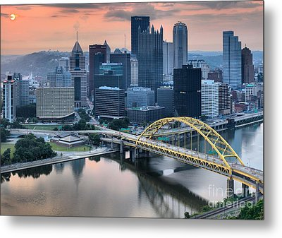 Reflections Of The Pittsburgh Skyine Metal Print