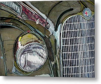 Metal Print featuring the painting Reflections On 1931 Alfa Romeo Milano by Anna Ruzsan