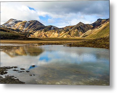 Reflections On Landmannalaugar Metal Print