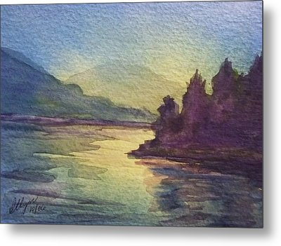 Metal Print featuring the painting Reflections On North South Lake by Ellen Levinson