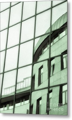 Reflections On The Building Metal Print by Odon Czintos