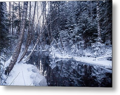 Reflections On Wintry River Metal Print