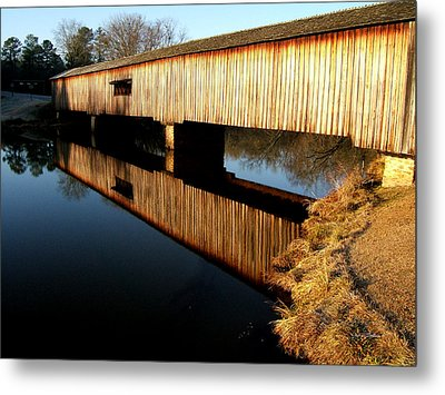 Metal Print featuring the photograph Reflections  Watson Mill Bridge by George Bostian