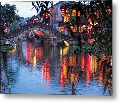 Reflections Xitang Evening Metal Print
