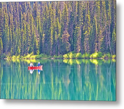 Reflective Fishing On Emerald Lake In Yoho National Park-british Columbia-canada  Metal Print by Ruth Hager