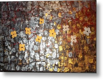 Reflective Floral Friends Metal Print