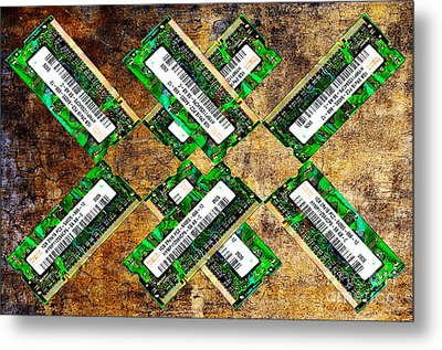 Refresh My Memory - Computer Memory Cards - Electronics - Abstract Metal Print by Andee Design
