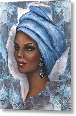Metal Print featuring the mixed media Regal Lady In Blue by Alga Washington