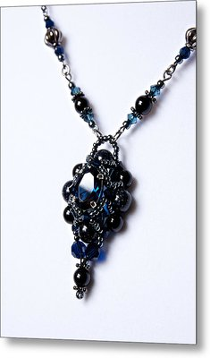 Regal Sapphire Pendant Necklace And Matching Earrings Set Metal Print by WDM Gallery