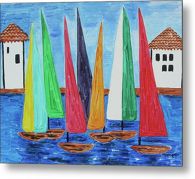 Metal Print featuring the painting Regatta by Diane Pape
