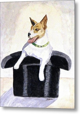 Metal Print featuring the painting Reggie In A Top Hat  by Angela Davies