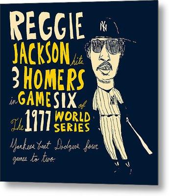 Reggie Jackson New York Yankees Metal Print by Jay Perkins