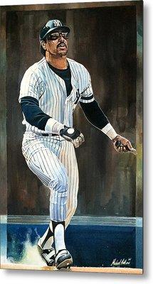 Reggie Jackson New York Yankees Metal Print by Michael  Pattison