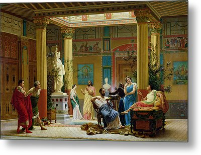 Rehearsal Of The Fluteplayer And The Diomedes Wife In The Atrium Of The Pompeian House Of Prince Metal Print