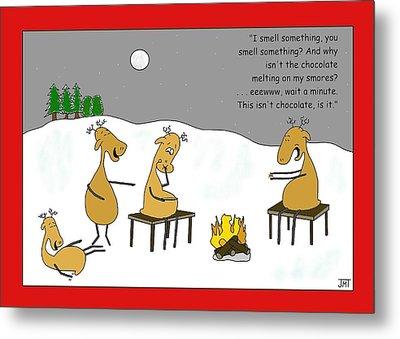 Reindeer Smores Christmas Card Metal Print by Manly Thweatt