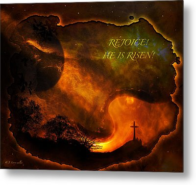 Metal Print featuring the digital art Rejoice - He Is Risen by J Larry Walker