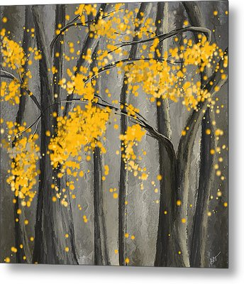Rejuvenating Elements- Yellow And Gray Art Metal Print by Lourry Legarde