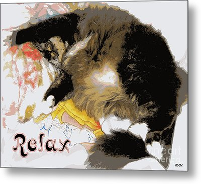 Relax Cat Metal Print by Heidi Manly