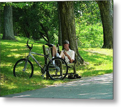 Relaxing After The Ride Metal Print by Susan Savad
