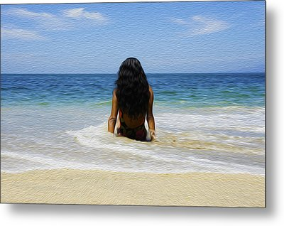 Relaxing In The Waves Metal Print by Aged Pixel
