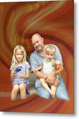 Relaxing With The Grandchildren Metal Print