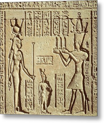 Relief Depicting A Pharaoh Making An Offering To Hathor, From The Roman Birth House, Or Mammisi Metal Print by Greco-Roman